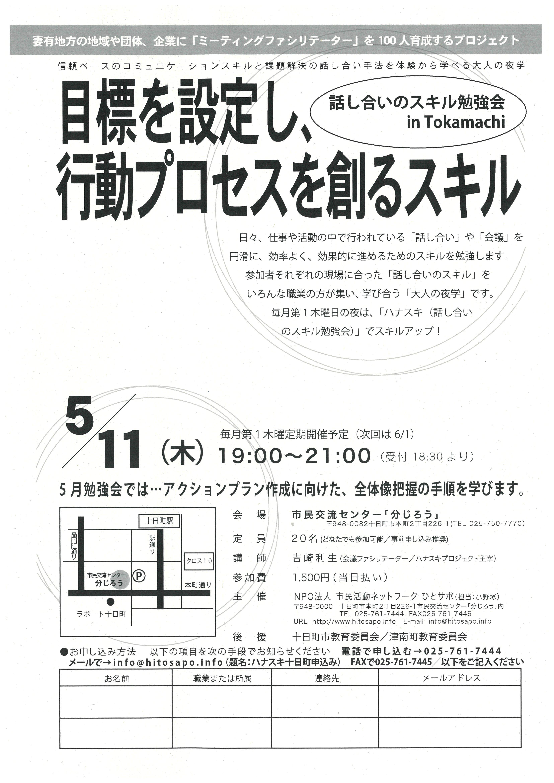 話し合いのスキル勉強会 in Tokamachi -目標を設定し、行動プロセスを創るスキル-